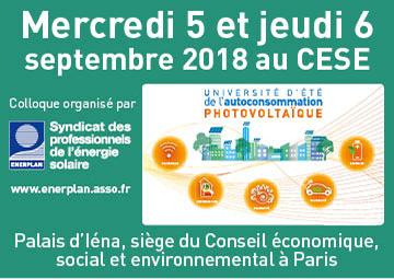 Enerplan - Université d'été de l'autoconsommation PV - Septembre 2018